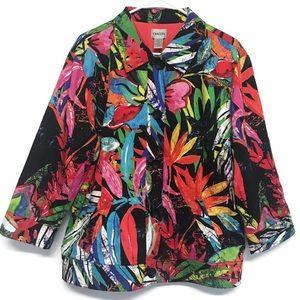Chico's Floral Blazer Jacket Colorful